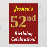 [ Thumbnail: Red, Faux Gold 52nd Birthday Celebration + Name Invitation ]