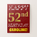 [ Thumbnail: Red, Faux Gold 52nd Birthday + Custom Name Puzzle ]