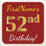 [ Thumbnail: Red, Faux Gold 52nd Birthday + Custom Name Paper Coaster ]