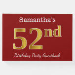 [ Thumbnail: Red, Faux Gold 52nd Birthday Party + Custom Name Guest Book ]
