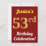 [ Thumbnail: Red, Faux Gold 53rd Birthday Celebration + Name Invitation ]