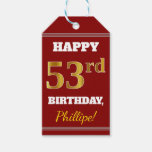 [ Thumbnail: Red, Faux Gold 53rd Birthday + Custom Name Gift Tags ]