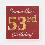 [ Thumbnail: Red, Faux Gold 53rd Birthday + Custom Name Napkin ]