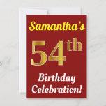 [ Thumbnail: Red, Faux Gold 54th Birthday Celebration + Name Invitation ]