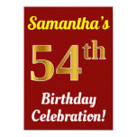 [ Thumbnail: Red, Faux Gold 54th Birthday Celebration + Name Invitation ]