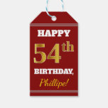 [ Thumbnail: Red, Faux Gold 54th Birthday + Custom Name Gift Tags ]