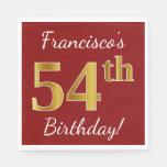 [ Thumbnail: Red, Faux Gold 54th Birthday + Custom Name Napkin ]