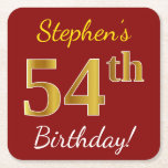 [ Thumbnail: Red, Faux Gold 54th Birthday + Custom Name Paper Coaster ]