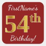 [ Thumbnail: Red, Faux Gold 54th Birthday + Custom Name Sticker ]