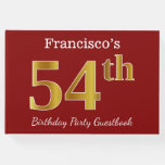 [ Thumbnail: Red, Faux Gold 54th Birthday Party + Custom Name Guest Book ]