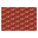 [ Thumbnail: Red, Faux Gold 54th (Fifty-Fourth) Event Tissue Paper ]