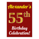 [ Thumbnail: Red, Faux Gold 55th Birthday Celebration + Name Invitation ]