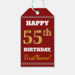 [ Thumbnail: Red, Faux Gold 55th Birthday + Custom Name Gift Tags ]