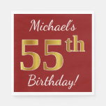 [ Thumbnail: Red, Faux Gold 55th Birthday + Custom Name Paper Napkin ]