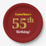 [ Thumbnail: Red, Faux Gold 55th Birthday + Custom Name Paper Plate ]