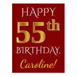 [ Thumbnail: Red, Faux Gold 55th Birthday + Custom Name Postcard ]