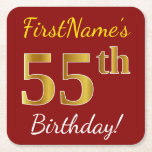 [ Thumbnail: Red, Faux Gold 55th Birthday + Custom Name Paper Coaster ]