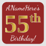 [ Thumbnail: Red, Faux Gold 55th Birthday + Custom Name Sticker ]
