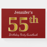 [ Thumbnail: Red, Faux Gold 55th Birthday Party + Custom Name Guest Book ]