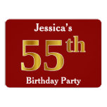 [ Thumbnail: Red, Faux Gold 55th Birthday Party + Custom Name Invitation ]