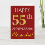 [ Thumbnail: Red, Faux Gold 55th Wedding Anniversary + Name Card ]
