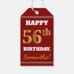 [ Thumbnail: Red, Faux Gold 56th Birthday + Custom Name Gift Tags ]