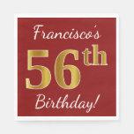 [ Thumbnail: Red, Faux Gold 56th Birthday + Custom Name Napkin ]
