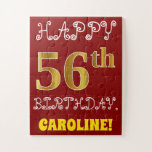 [ Thumbnail: Red, Faux Gold 56th Birthday + Custom Name Puzzle ]