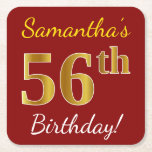 [ Thumbnail: Red, Faux Gold 56th Birthday + Custom Name Paper Coaster ]