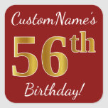 [ Thumbnail: Red, Faux Gold 56th Birthday + Custom Name Sticker ]