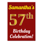 [ Thumbnail: Red, Faux Gold 57th Birthday Celebration + Name Invitation ]