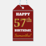 [ Thumbnail: Red, Faux Gold 57th Birthday + Custom Name Gift Tags ]