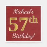 [ Thumbnail: Red, Faux Gold 57th Birthday + Custom Name Napkin ]