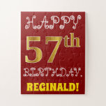 [ Thumbnail: Red, Faux Gold 57th Birthday + Custom Name Puzzle ]