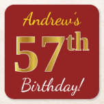 [ Thumbnail: Red, Faux Gold 57th Birthday + Custom Name Paper Coaster ]