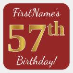 [ Thumbnail: Red, Faux Gold 57th Birthday + Custom Name Sticker ]