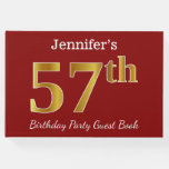 [ Thumbnail: Red, Faux Gold 57th Birthday Party + Custom Name Guest Book ]