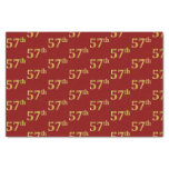 [ Thumbnail: Red, Faux Gold 57th (Fifty-Seventh) Event Tissue Paper ]