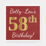 [ Thumbnail: Red, Faux Gold 58th Birthday + Custom Name Napkin ]