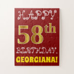[ Thumbnail: Red, Faux Gold 58th Birthday + Custom Name Puzzle ]
