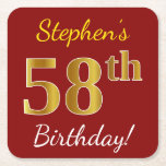 [ Thumbnail: Red, Faux Gold 58th Birthday + Custom Name Paper Coaster ]