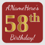 [ Thumbnail: Red, Faux Gold 58th Birthday + Custom Name Sticker ]
