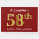 [ Thumbnail: Red, Faux Gold 58th Birthday Party + Custom Name Guest Book ]