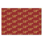 [ Thumbnail: Red, Faux Gold 58th (Fifty-Eighth) Event Tissue Paper ]