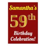 [ Thumbnail: Red, Faux Gold 59th Birthday Celebration + Name Invitation ]
