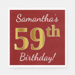 [ Thumbnail: Red, Faux Gold 59th Birthday + Custom Name Napkin ]