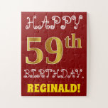[ Thumbnail: Red, Faux Gold 59th Birthday + Custom Name Puzzle ]