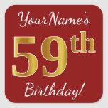 [ Thumbnail: Red, Faux Gold 59th Birthday + Custom Name Sticker ]