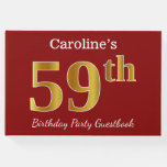 [ Thumbnail: Red, Faux Gold 59th Birthday Party + Custom Name Guest Book ]