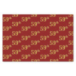 [ Thumbnail: Red, Faux Gold 59th (Fifty-Ninth) Event Tissue Paper ]
